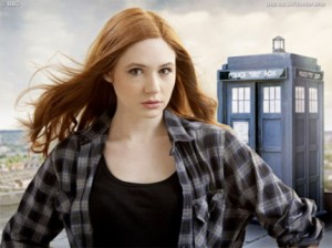 Amy Pond with the TARDIS