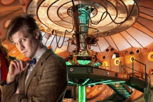 Matt Smith inside the new TARDIS