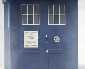TARDIS door with St John badge
