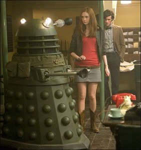 Mock British soldier Dalek with Amy Pond and Doctor Who