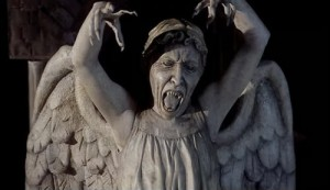 A screaming Weeping Angel from Doctor Who
